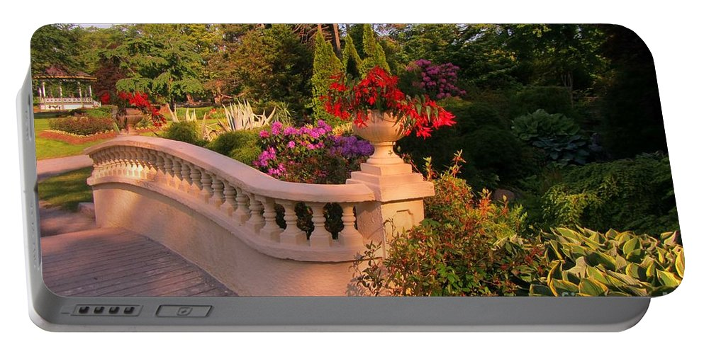 Balustrade Fence Portable Battery Charger featuring the painting Beautiful Balustrade Fence In Halifax Public Gardens by John Malone