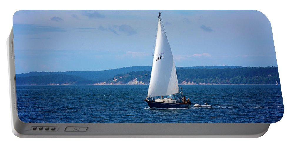 Wind Portable Battery Charger featuring the photograph Beautiful Boat Sailing At Puget Sound by Evgeny Vasenev