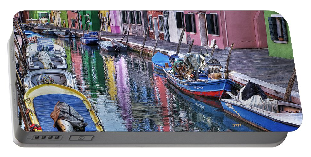 Attraction Portable Battery Charger featuring the photograph Beautiful Colors Of Burano by Linda D Lester