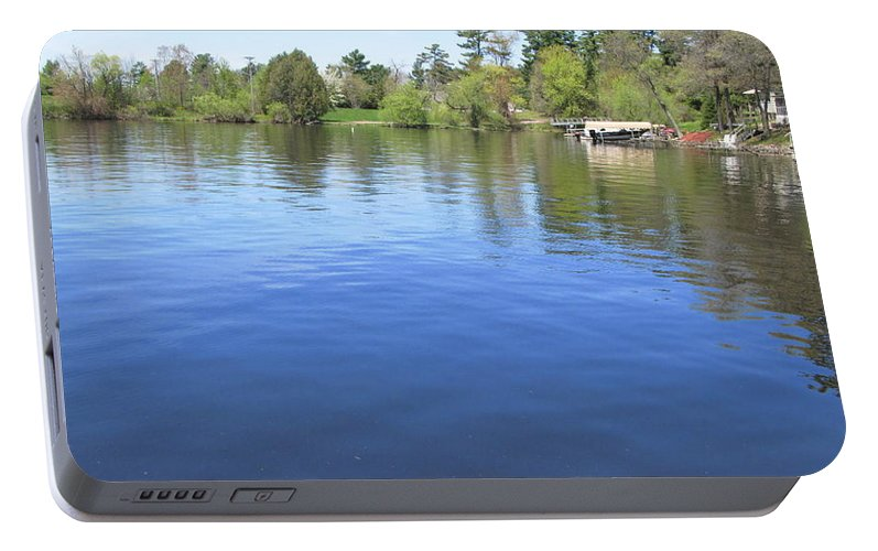 Lake Wisconsin Portable Battery Charger featuring the painting Beautiful Day by Robert Nacke