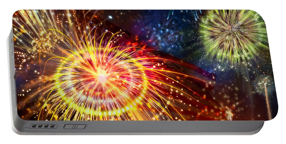 Beautiful Fireworks Portable Battery Charger featuring the painting Beautiful Fireworks 8 by Jeelan Clark