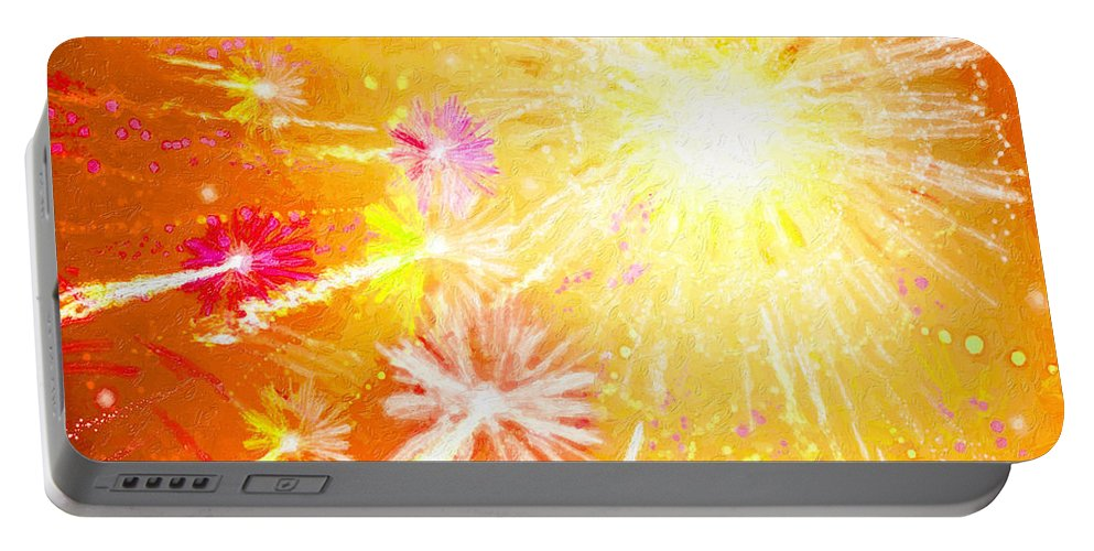 Beautiful Fireworks Portable Battery Charger featuring the painting Beautiful Fireworks by Jeelan Clark