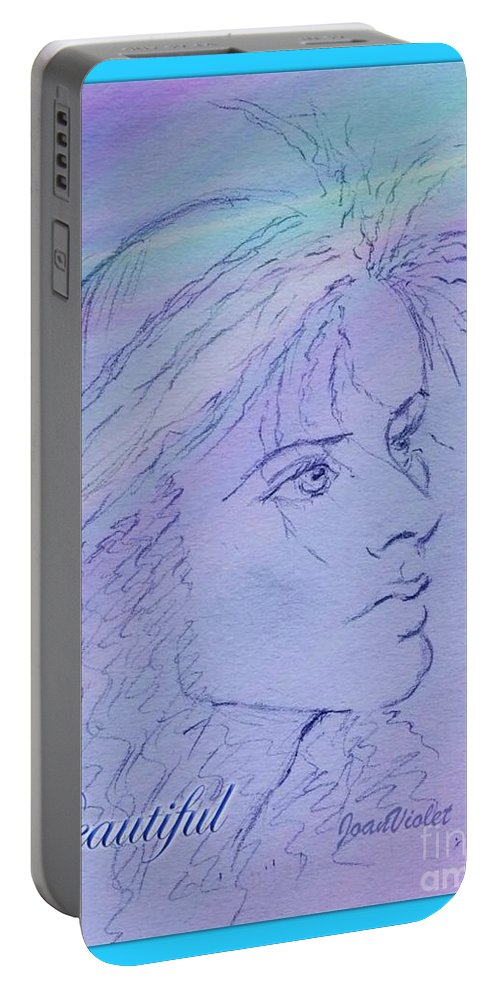 Sketch Portable Battery Charger featuring the drawing Beautiful Framed by Joan-Violet Stretch