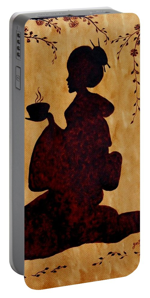 Geisha Coffee Art Painting Portable Battery Charger featuring the painting Beautiful Geisha Coffee Painting by Georgeta Blanaru