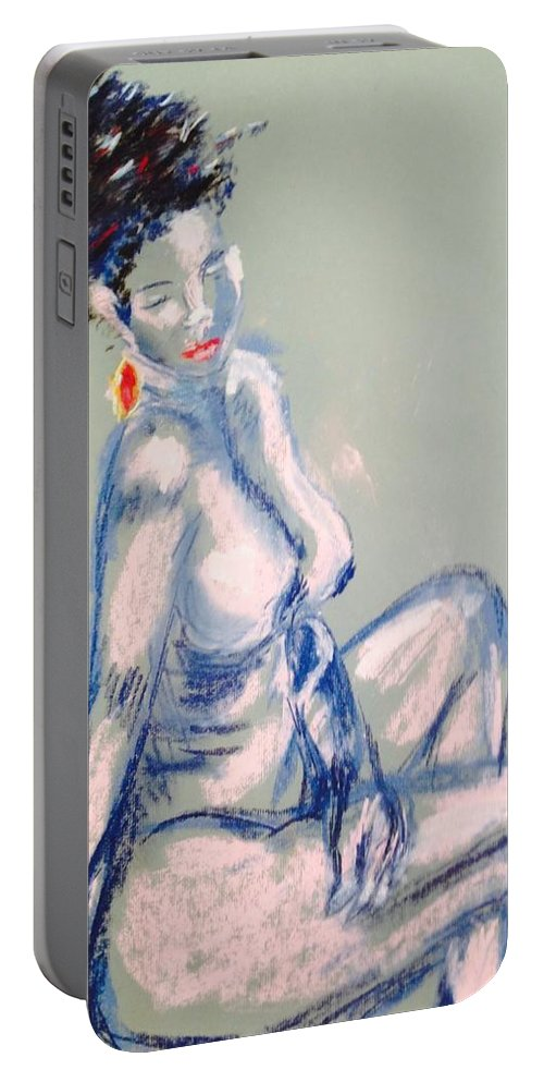 Nude Portable Battery Charger featuring the painting Beautiful by Julene Franki