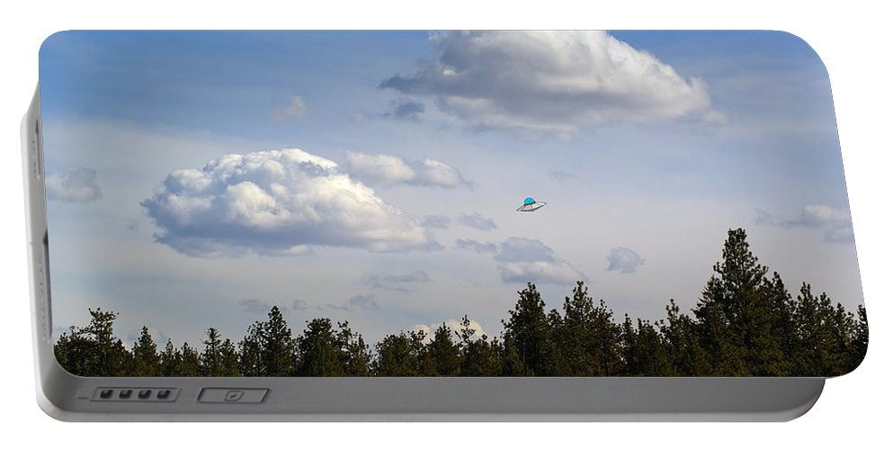 Ufo Portable Battery Charger featuring the photograph Beautiful Spokane Skyline With A Ufo by Ben Upham III