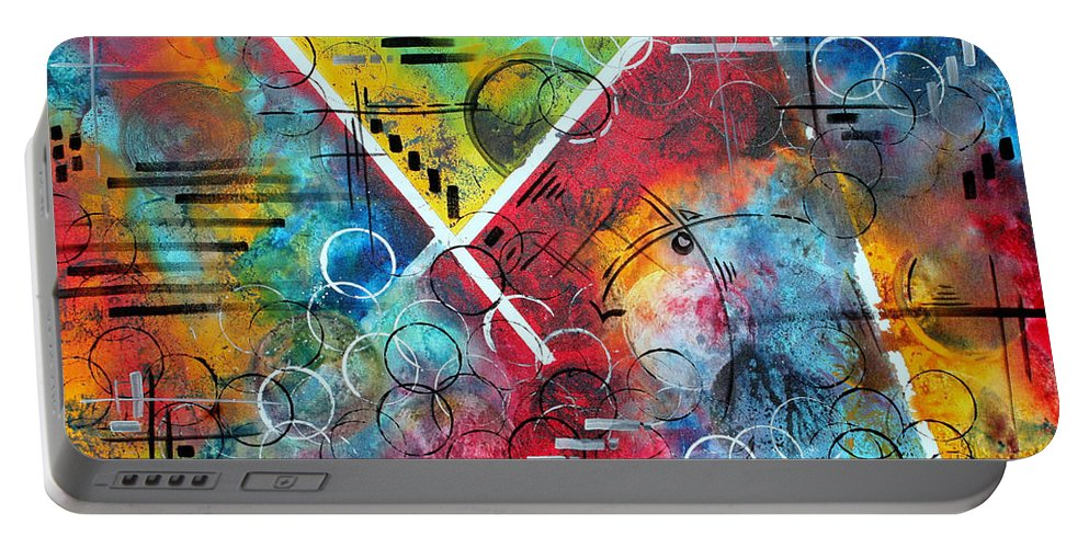 Wall Portable Battery Charger featuring the painting Beauty Amongst The Chaos By Madart by Megan Duncanson