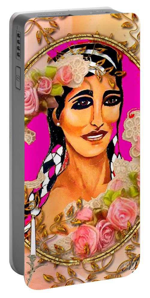 Beauty Portable Battery Charger featuring the painting Beauty And Flowers 1 by Saundra Myles