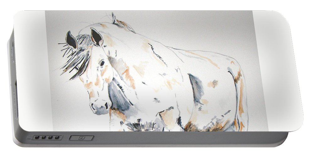 Horse Portable Battery Charger featuring the painting Beauty by Crystal Hubbard