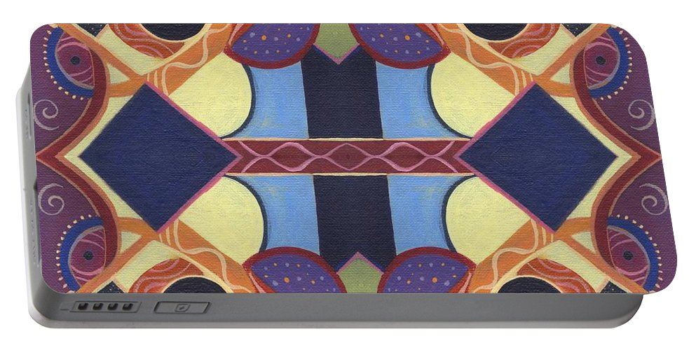 Abstract Portable Battery Charger featuring the painting Beauty In Symmetry 2 - The Joy Of Design X X Arrangement by Helena Tiainen