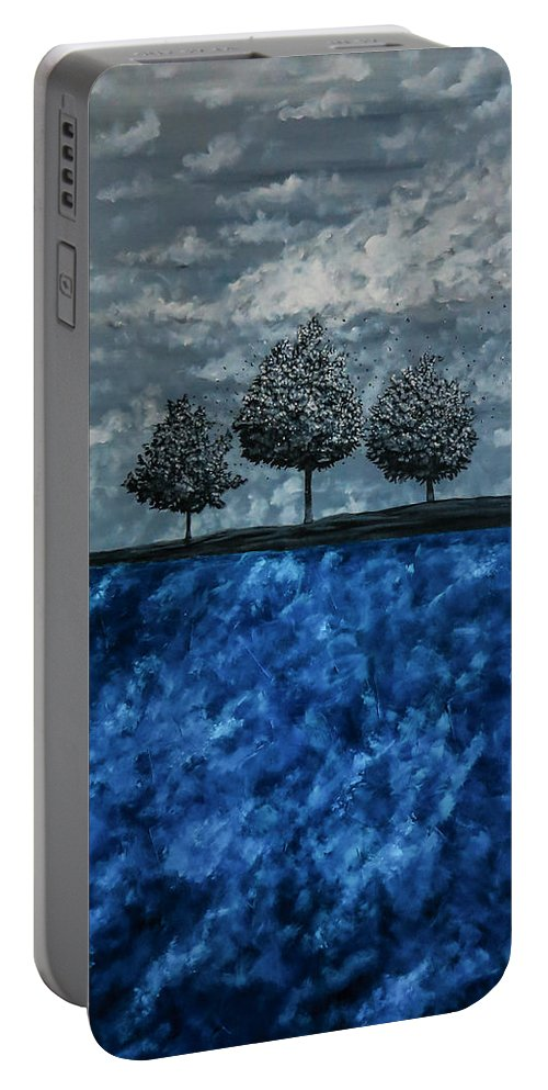 Surrealistic Portable Battery Charger featuring the painting Beauty In The Breakdown by Joel Tesch