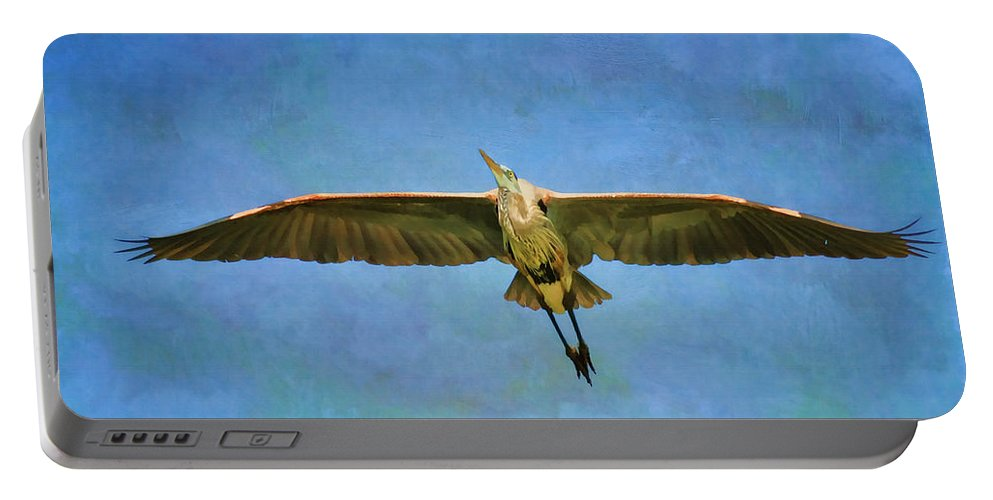 Blue Heron Portable Battery Charger featuring the photograph Beauty Of Flight Textured by Deborah Benoit