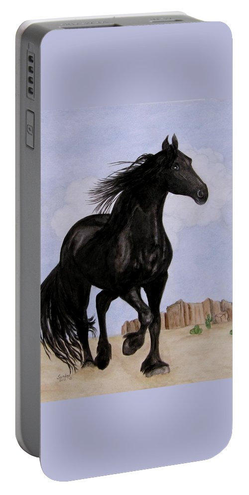 Friesian Horse Portable Battery Charger featuring the painting Beauty Running Free by Sandra Maddox