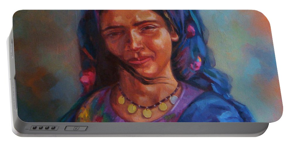 Impressionism Portable Battery Charger featuring the painting Bedouin Woman by Ahmed Bayomi