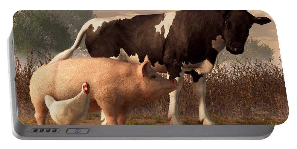 Cow Portable Battery Charger featuring the digital art Beef Pork And Poultry by Daniel Eskridge