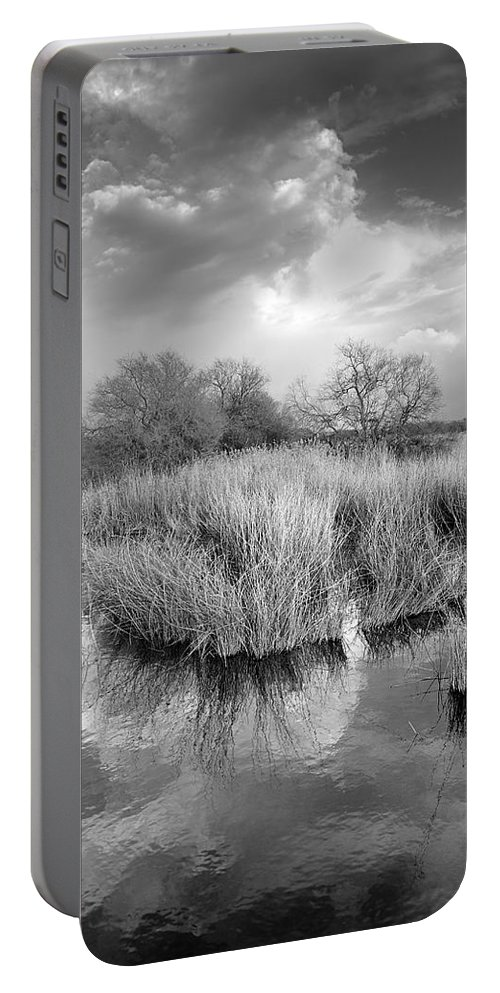 Monocronme Portable Battery Charger featuring the photograph Before The Big Storm Mono by Guido Montanes Castillo