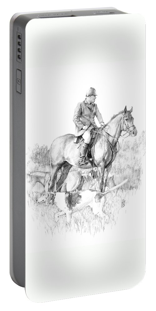 Fox Hunt Portable Battery Charger featuring the drawing Before The Hunt by Debra Jones