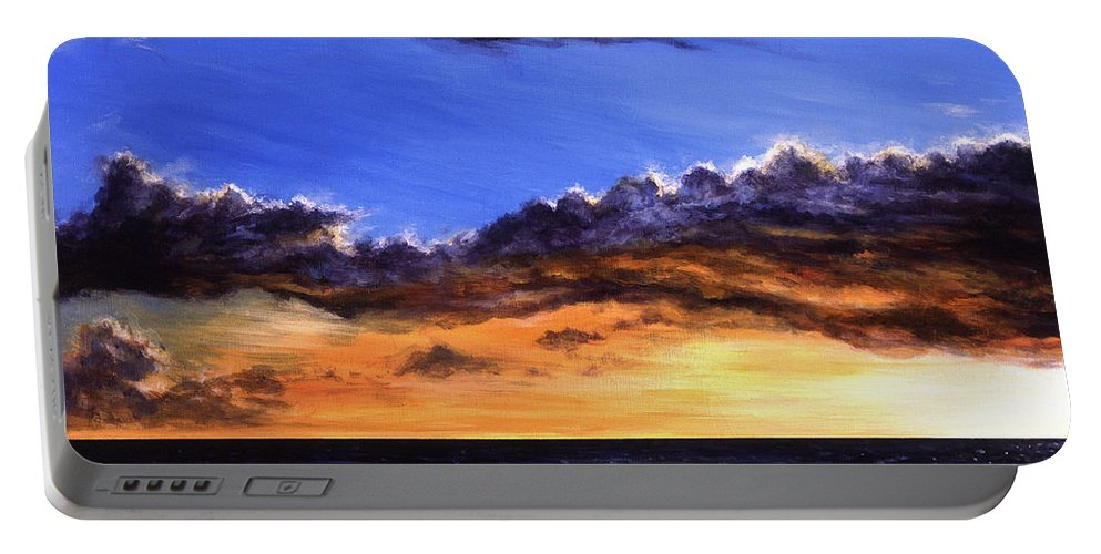 Hawaiian Sunset Series Number 2 Out Of 3 Before The Rain Portable Battery Charger featuring the painting Before The Rain by Cardell Walker