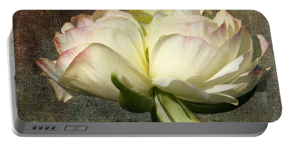 Denyse Duhaiime Photography Portable Battery Charger featuring the photograph Begonia With A Tint Of Pink by Denyse Duhaime