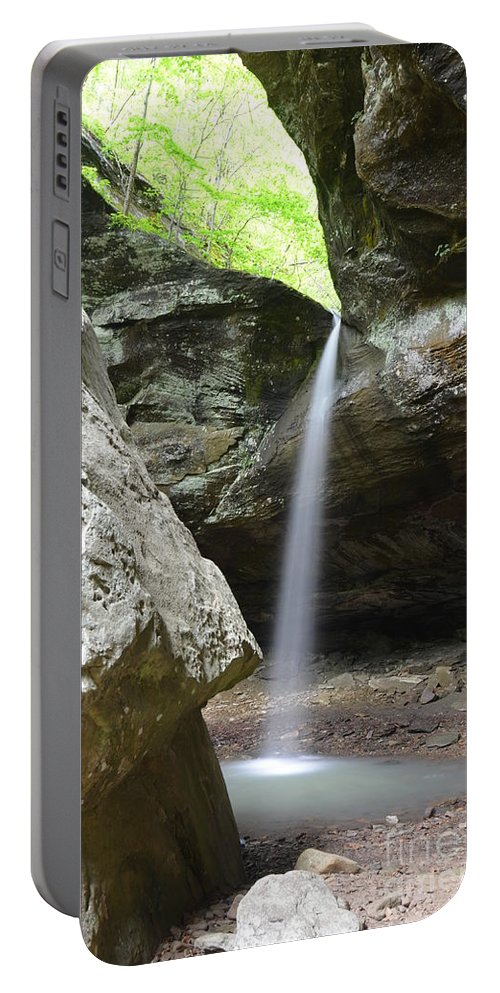Waterfalls Portable Battery Charger featuring the photograph Behind The Boulders by Deanna Cagle