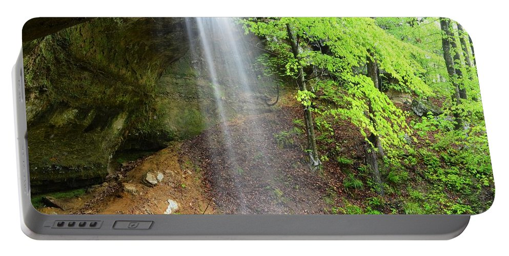 Waterfalls Portable Battery Charger featuring the photograph Behind The Curtain by Deanna Cagle