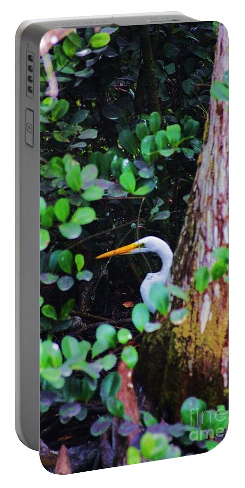 Egret Portable Battery Charger featuring the photograph Behind The Tree by Chuck Hicks