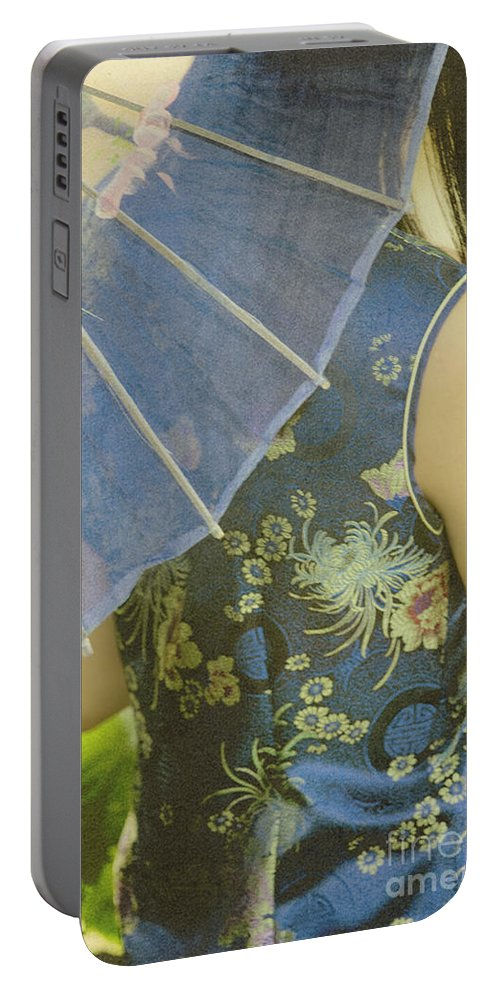 Chinese; Woman; Female; Lady; Pretty; Beautiful; Feminine; Prim; Proper; Umbrella; Shade; Parasol; Cover; Brunette; Decor; Ornate; Orient; Oriental; Leaves Portable Battery Charger featuring the photograph Behind The Umbrella by Margie Hurwich