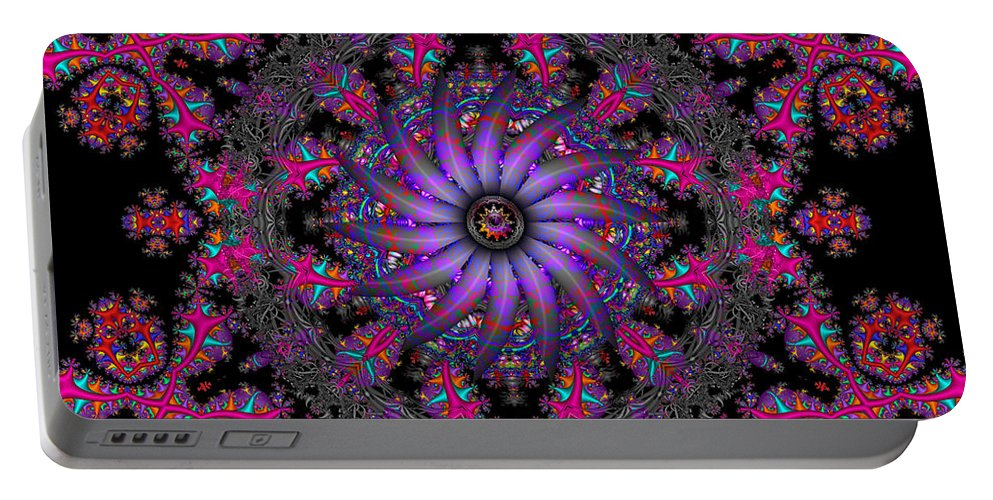 Abstract Portable Battery Charger featuring the digital art Behind The Veil by Robert Orinski