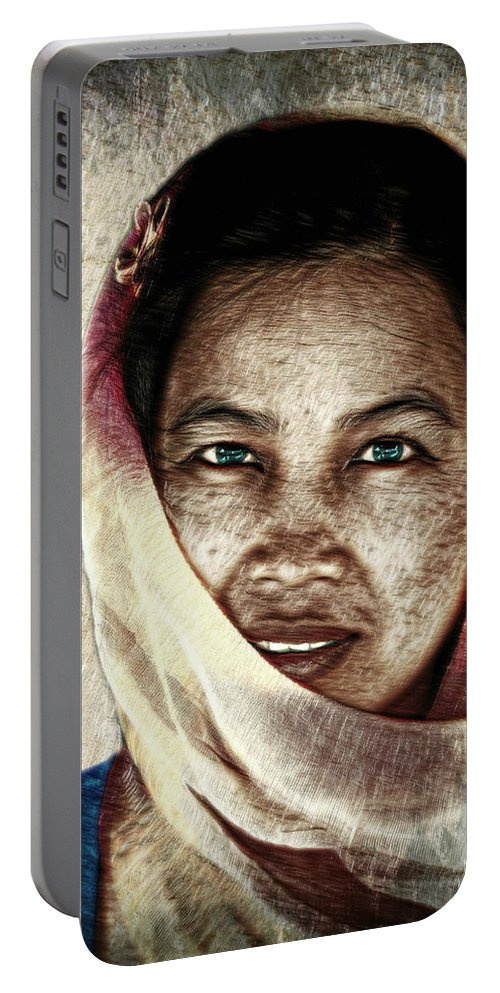 Portrait Portable Battery Charger featuring the photograph Behind The Scarf by Ian Gledhill