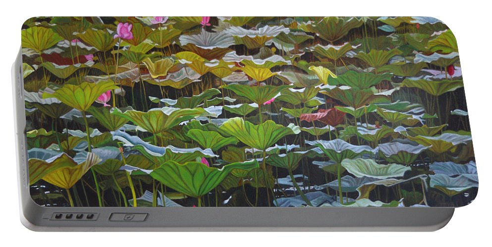 Waterlily Portable Battery Charger featuring the painting Beijing In August by Thu Nguyen