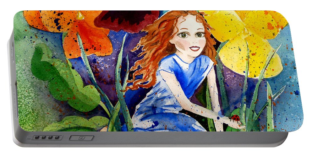 Flower Fairy Portable Battery Charger featuring the painting Tiny Flower Fairy by Michal Madison