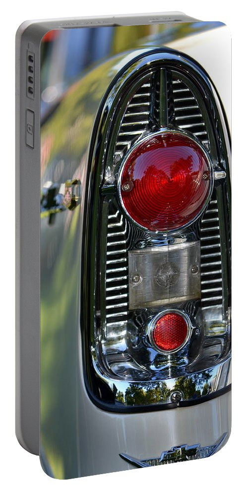Chevy Portable Battery Charger featuring the photograph Bel Air Taillight by Dean Ferreira