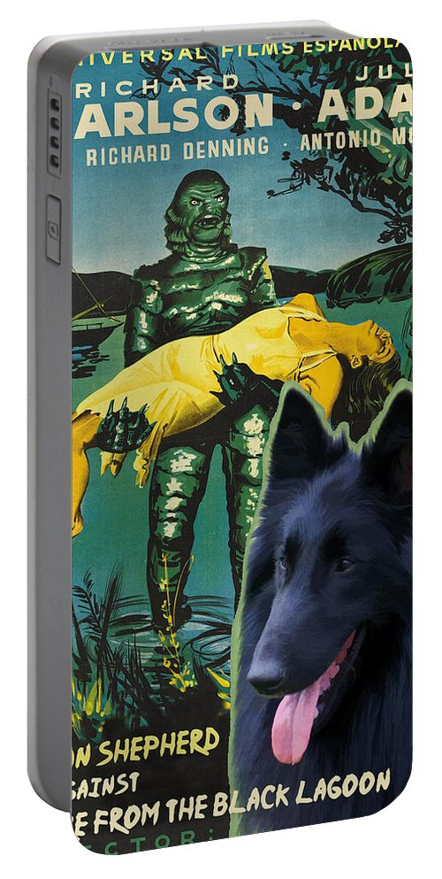 Belgian Shepherd Portable Battery Charger featuring the painting Belgian Shepherd Art Canvas Print - Creature From The Black Lagoon Movie Poster by Sandra Sij