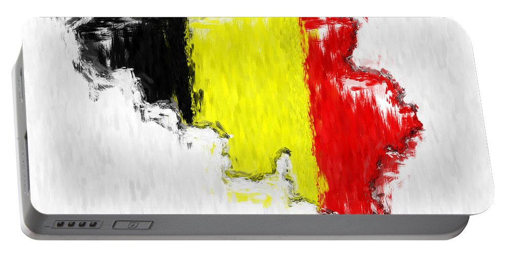 Belgium Portable Battery Charger featuring the photograph Belgium Painted Flag Map by Antony McAulay