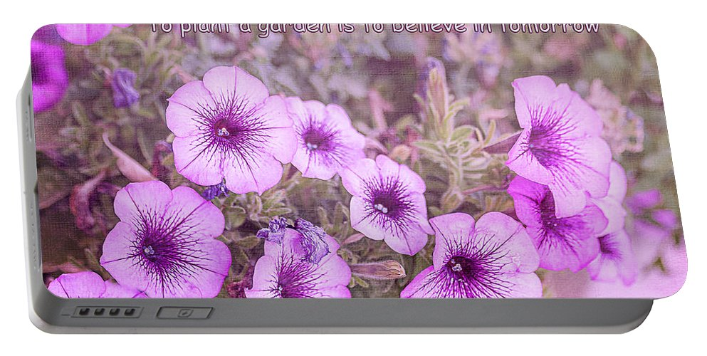 Plant A Garden Portable Battery Charger featuring the photograph Believe In Tomorrow by Janice Pariza