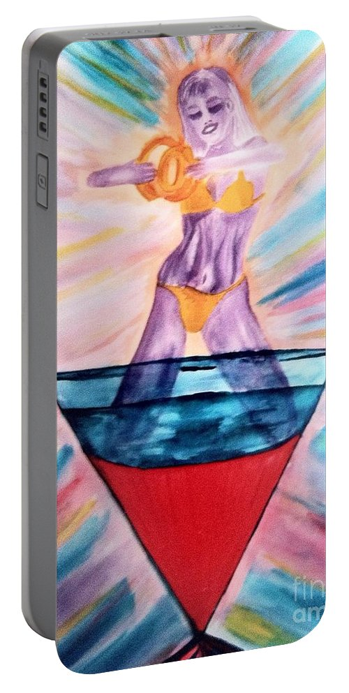 Blue Portable Battery Charger featuring the drawing Bellini by Melissa Darnell Glowacki