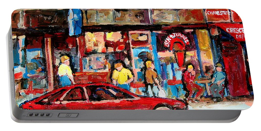 Cafescenes Portable Battery Charger featuring the painting Ben And Jerrys Ice Cream Parlor by Carole Spandau