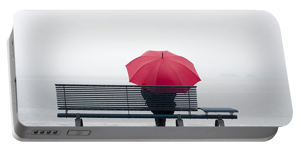 Umbrella Portable Battery Charger featuring the photograph Bench And Umbrella by Mats Silvan