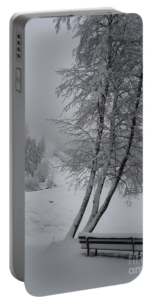 Bench Portable Battery Charger featuring the photograph Bench In The Snow by Christiane Schulze Art And Photography