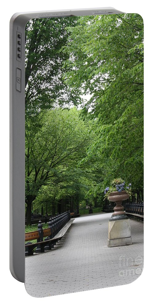 Park Portable Battery Charger featuring the photograph Bench Rows In Central Park Nyc by Christiane Schulze Art And Photography