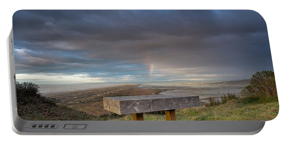 Humboldt Bay Portable Battery Charger featuring the photograph Bench With A View by Greg Nyquist