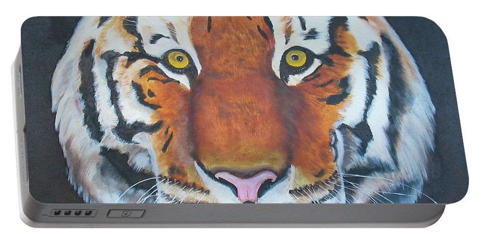 Bengal Portable Battery Charger featuring the painting Bengal Tiger by Thomas J Herring
