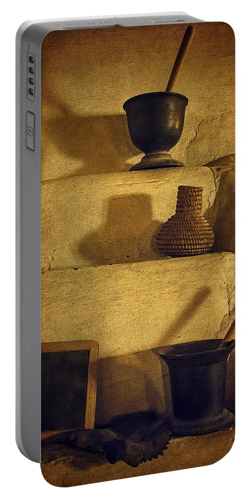 Bent's Old Fort National Historic Site Portable Battery Charger featuring the photograph Bent's Old Fort Kitchen Fireplace by Priscilla Burgers