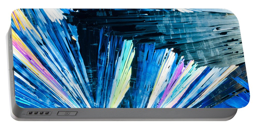 Acid Portable Battery Charger featuring the photograph Benzoic Acid Microcrystals Color Abstract by Stephan Pietzko