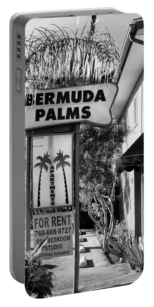 Bermuda Portable Battery Charger featuring the photograph Bermuda Palms Bw Palm Springs by William Dey