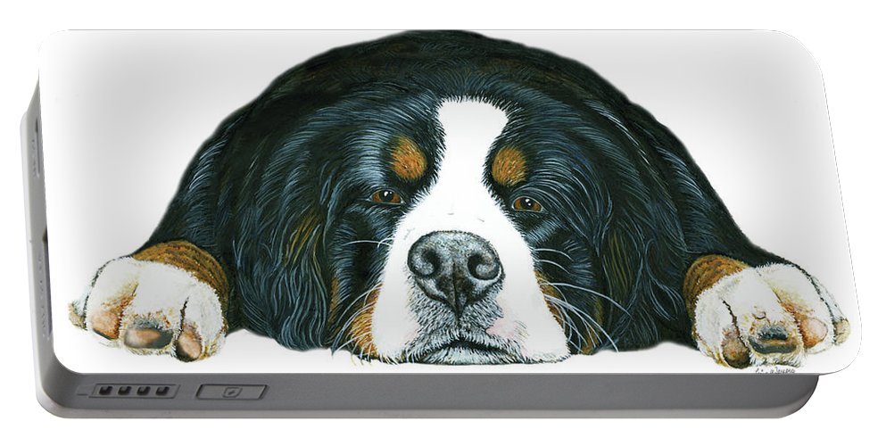 Bernese Mountain Dog Portable Battery Charger featuring the painting Bernese Mountain Dog Paradise by Liane Weyers