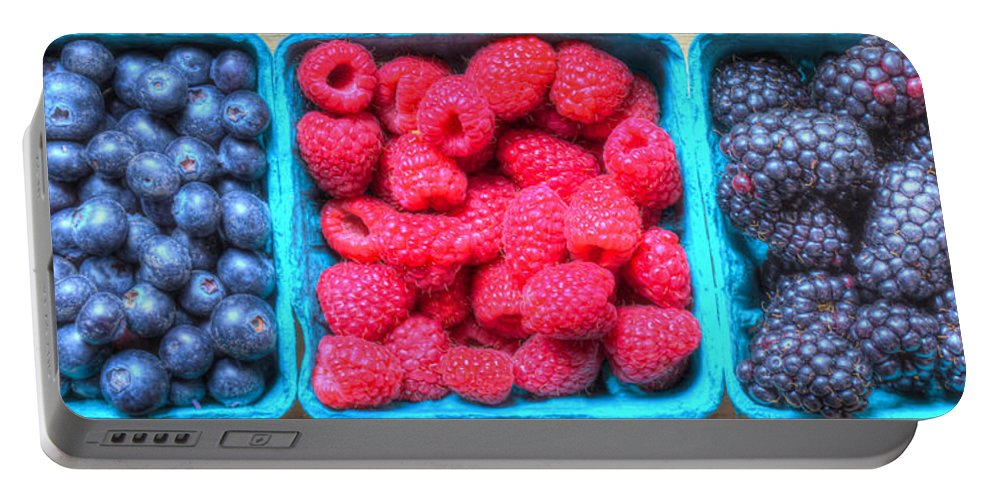 Abstract Portable Battery Charger featuring the photograph Berry Trio by Heidi Smith