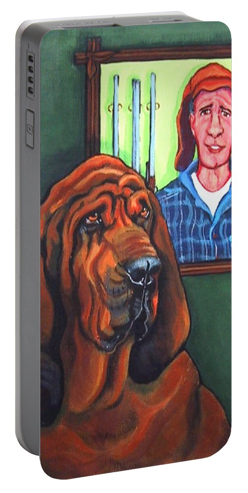 Bloodhound Portable Battery Charger featuring the painting Bloodhound - Bervil And Blue by Rebecca Korpita