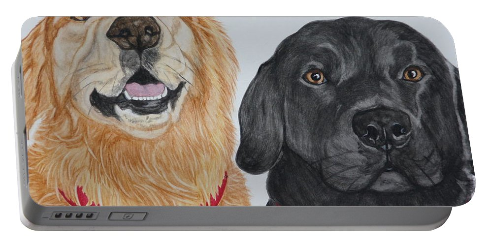 Dogs Portable Battery Charger featuring the painting Best Buds by Megan Cohen