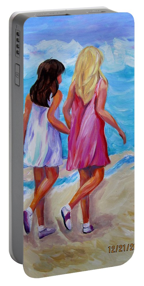 Girls Portable Battery Charger featuring the painting Best Friends Forever by Rosie Sherman